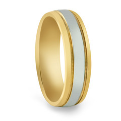 Two-Tone Customizable Grooved Ring
