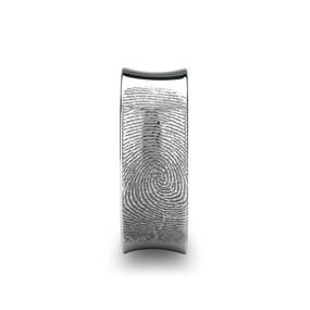 Fingerprint Engraved Concaved Polished Tungsten Ring