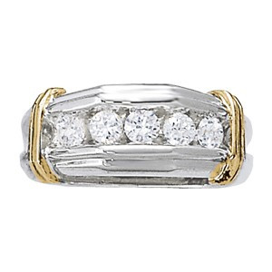 Platinum Ring with 18KT Yellow Gold Bands Set with 5 Diamonds