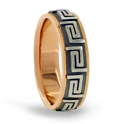 Rose Gold Greek Key Eternity Grooved Ring