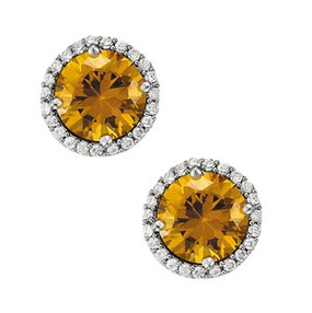 Round Yellow Citrine and Diamond Halo Stud Earrings