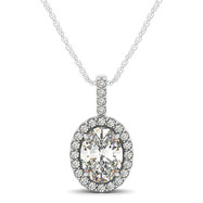 Oval Diamond Halo Pendant