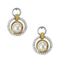 Two-Tone Pearl and Diamond Dangle Earrings