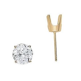 Yellow Gold Round Diamond Stud Earrings