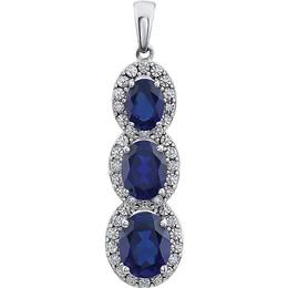 Diamond Halo Triple Sapphire Pendante