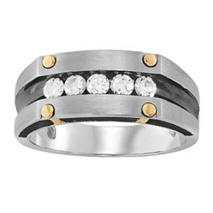 Platinum Ring Set with 5 Diamonds and 4 Yellow Gold Gromets