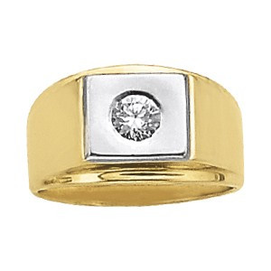 Two-Tone Signet Ring Set with Diamond