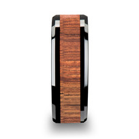Koa Wood Inlaid Black Ceramic Ring with Bevels