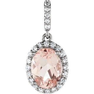 Oval Pink Sapphire Diamond Halo Pendnat