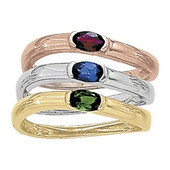 Tri-Color Stackable Right Hand Rings