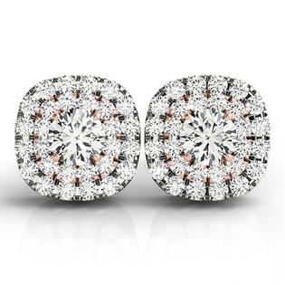 Two-Tone Round Diamond Double Halo Earring Studs