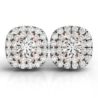 Two-Tone Round Diamond Double Halo Earring Studs