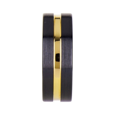 Black Ceramic Wedding Band with Yellow Gold Groove