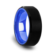 Black Tungsten Comfort Fit Wedding Band with Brush Center Bright Bevels and Deep Blue Inside Color