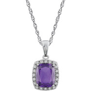 Diamond Halo Amethyst Pendant