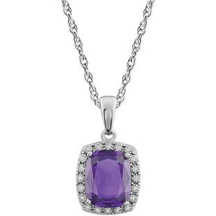 Diamond Halo Amethyst Pendant