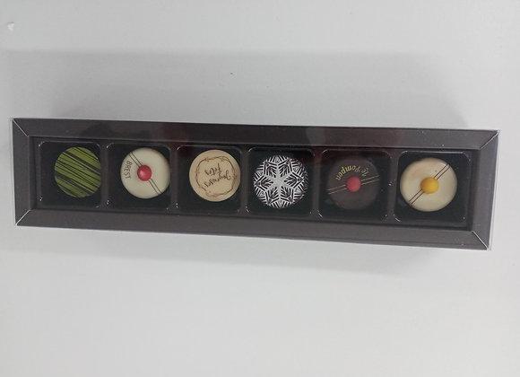 Boîte de 6 pompons et chocolats praliné