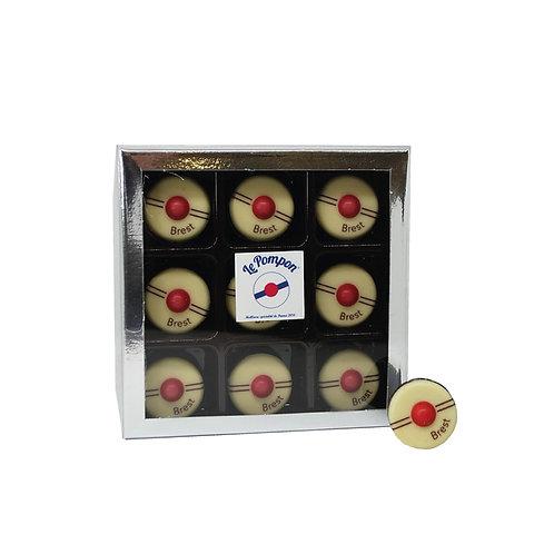 5 Boîte transparente de 9 Pompons