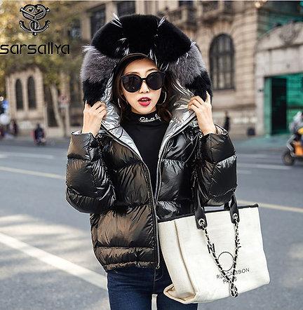 SARSALLYA Women Hooded Real Natural Fox Fur Coat