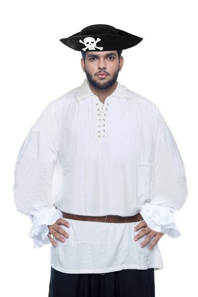 Men's Pirate Costumes White Pirate Halloween Shirt