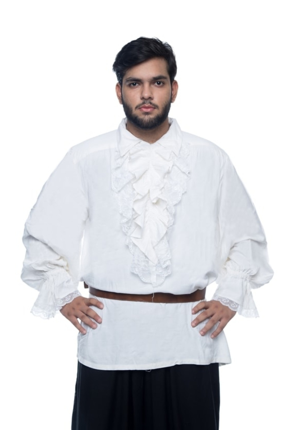 This white medieval pirate costume is made from high-quality textile for durability and comfort. The costume is ideal for themed based parties, pirate fest, costume parties as well as Halloween parties.