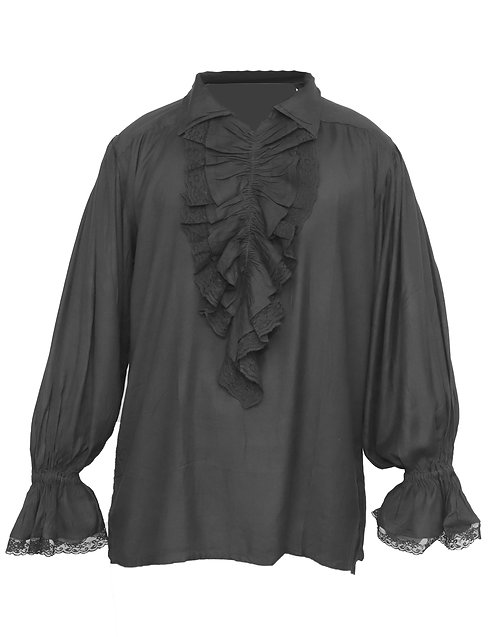 Black Lace Pirate Medieval Shirt