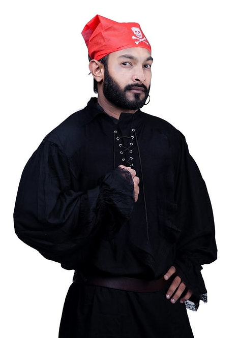 Pirate Medieval Renaissance Cosplay Costume Black Pirate Shirt