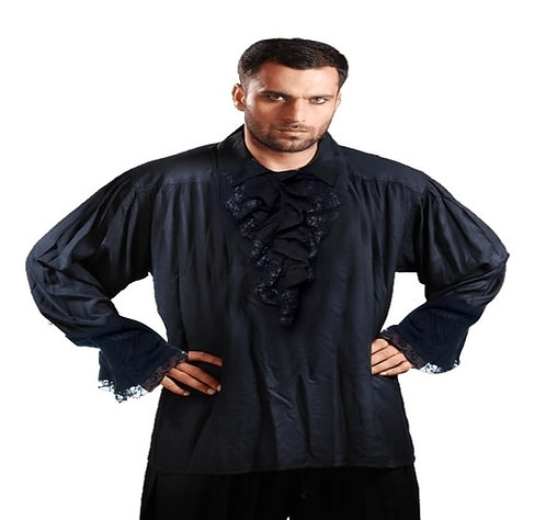 Men's Black Cotton Rayon Captain Charles Vane Medieval Pirate Shirt