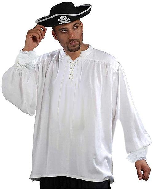 Men's White Cotton Medieval Captain Quincy Look Pirate Shirt