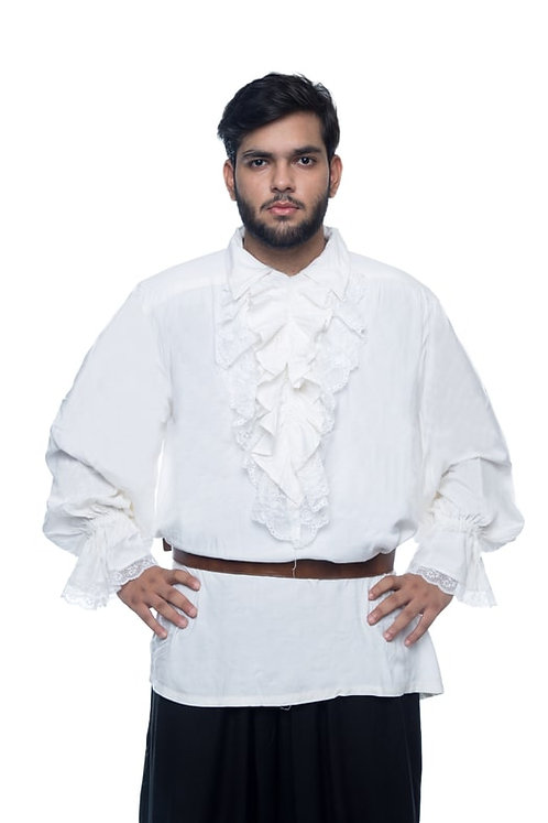 Men's White Cotton Rayon Medieval Renaissance Pirate Shirt Costume (51 sold)