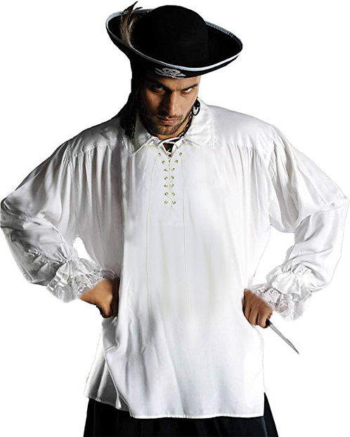 Men's Medieval White Cotton Pirate Shirt Costume (41 sold)