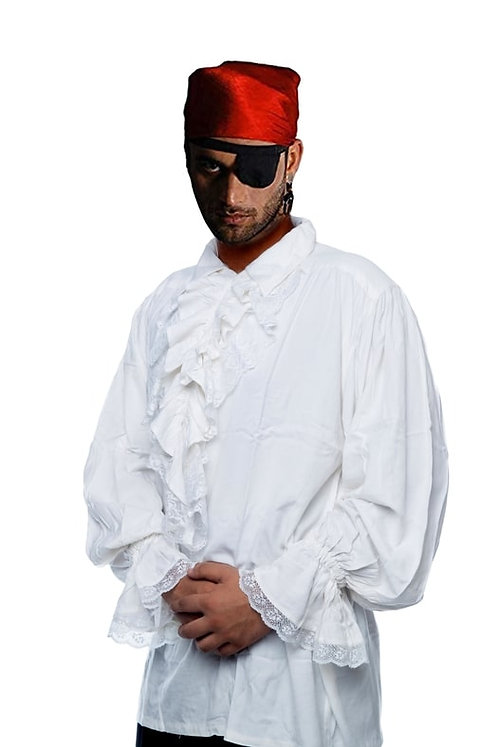 White Ruffle Cotton Pirate Shirt