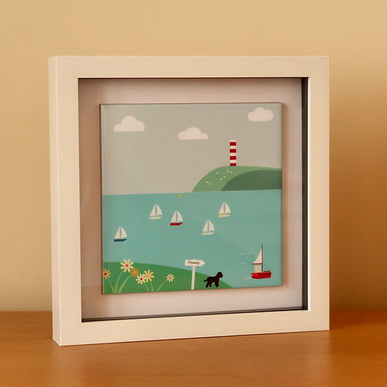 Framed Ceramic Art Tile - Heading back to Fowey
