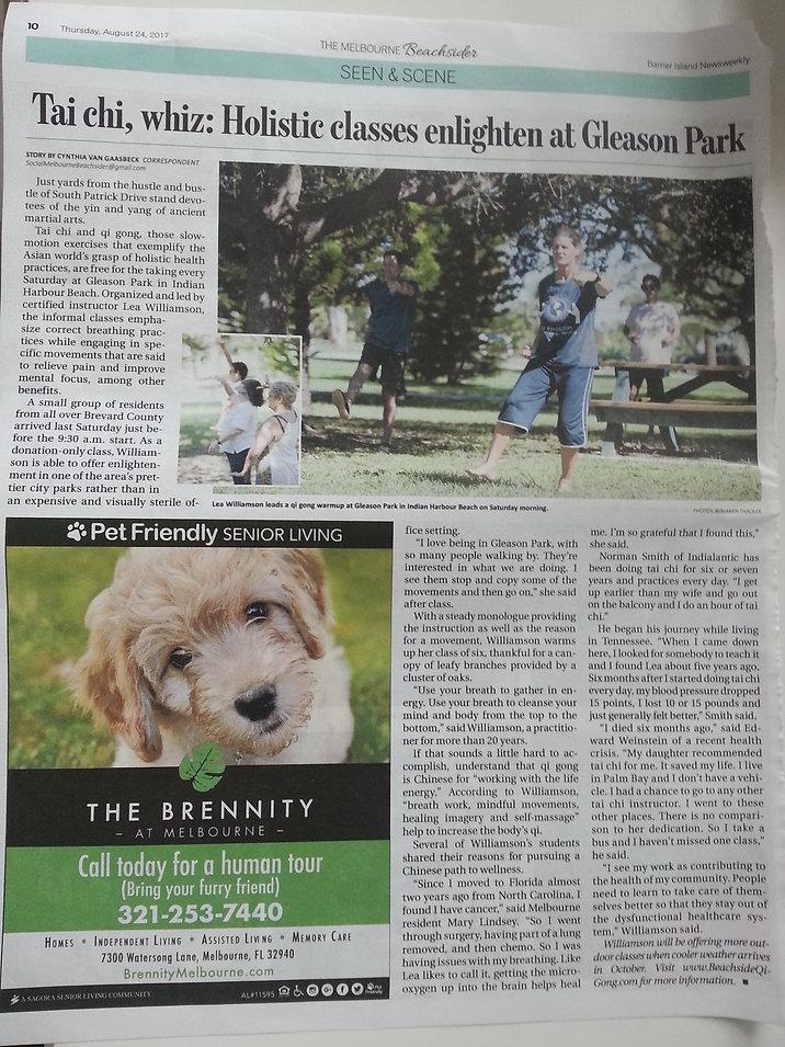 Melbourne Beachsider Newspaper article