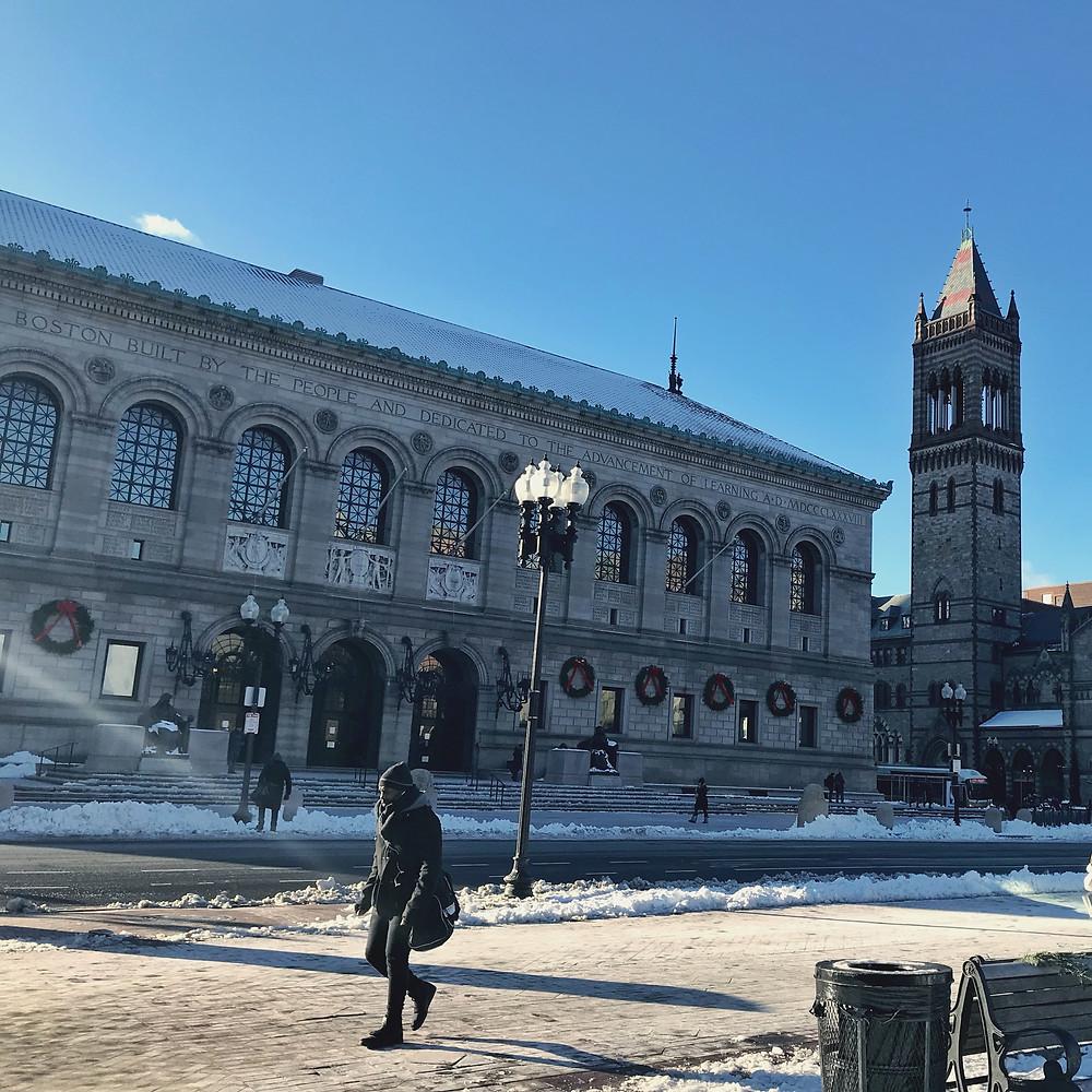 Boston Public Library in winter, boston, ma, alien thoughts, international students blog