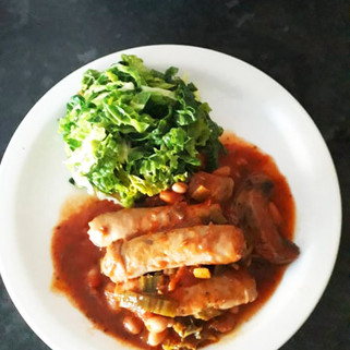 Sausage, mushroom & bean stew with savoy cabbage
