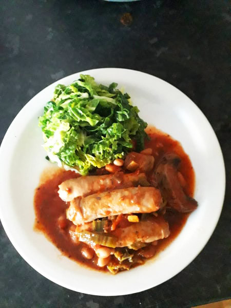 Sausage, Mushroom & Bean Stew with savoy cabbage