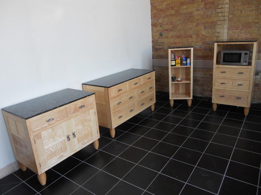 Sustainable Ash hardwood freestanding Kitchen Cabinets, Cambridgeshire. 2012
