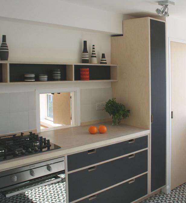 Linoleum Faced Kitchen Furniture, London. 2014