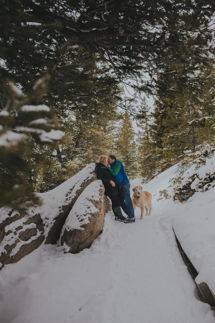 A man and woman kiss while their golden retriever looks at the camera at a Sapphire Point engagement session