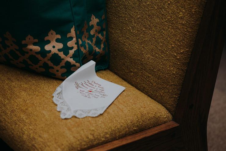 A closeup of an embroidered handkerchief