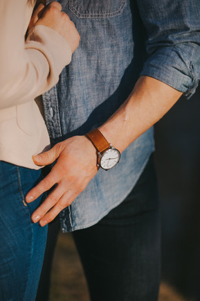 A closeup of a watch during Stevens Point engagement photos