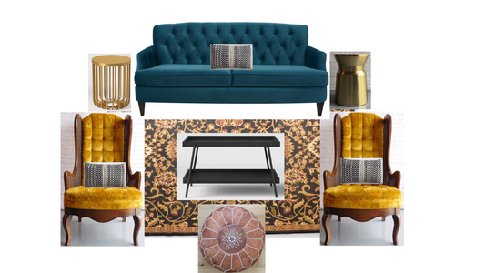 A digital mockup for a event,  showing blue velvet chairs, and oriental rug, and a white couch with green pillow, by Velvet Rentals in a Madison Wisconsin wedding