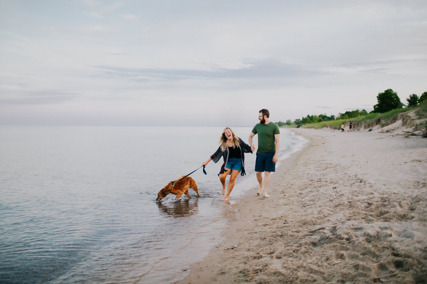 A couple and dog walk in the waves during a Kohler-Andrae State Park engagement