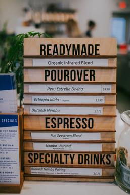 A close up of Kickapoo Coffee Roasters menu
