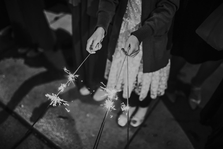 A close up of a sparkler exit in downtown Milwaukee