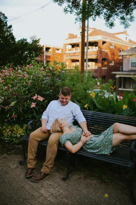 A women lays in a man's lap