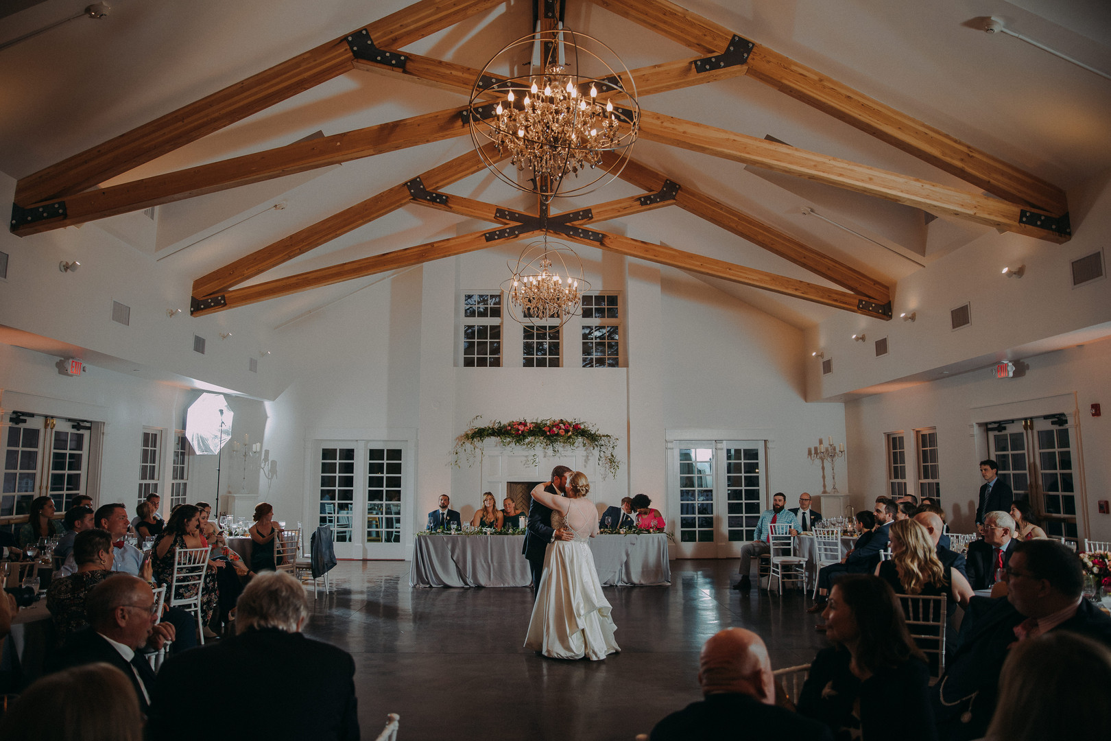 A bride and groom share their first dance at the Manor House in Littleton Wisconsin