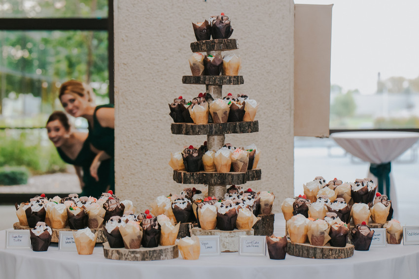 A tower of cupcakes in the atrium at Beckets