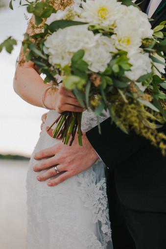 A close up of a bridal bouquet